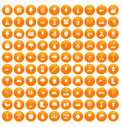 100 agriculture icons set orange vector