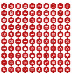 100 money icons hexagon red vector