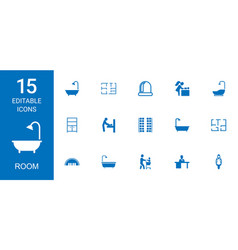 15 room icons vector image