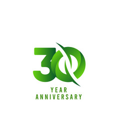 30 years anniversary green celebration template vector