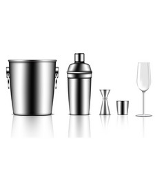 3d mock up realistic metallic shaker bottle ice vector image