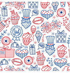 4 july usa independence day seamless background vector image