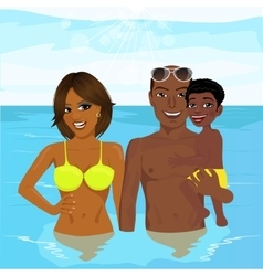 african american family enjoying vacation time vector image
