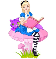 Alice holding book vector image