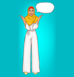 Arabic woman in hijab surprised vector