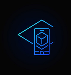 augmented reality in smartphone blue icon vector image