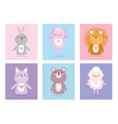 Bashower cute animals for card and invitation vector