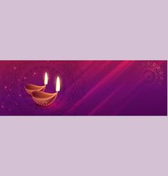 Beautiful diwali festival banner with diya art vector