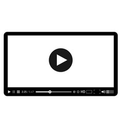 Black and white video player template for web and vector