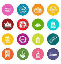 black friday icons many colors set vector image