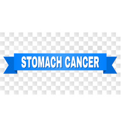 Blue ribbon with stomach cancer caption vector