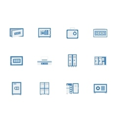 Blue safes and lockers flat icons vector