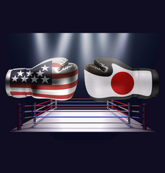 boxing gloves with prints of the usa and japanese vector image
