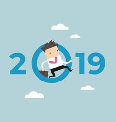 businessman jump throw zero in number 2019 vector image