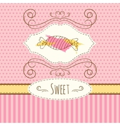 Candies hand drawn card with vector