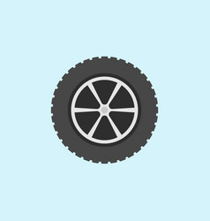 Car wheel with tyre flat icon on blue vector