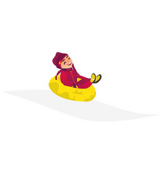 cartoon girl kid in inflatable tube sled vector image
