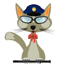 Cat in form of the police bodies vector image
