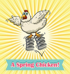 Chicken jumping on spring vector