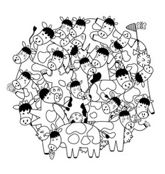 circle shape pattern with cute cows for coloring vector image