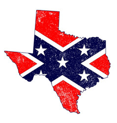 Confederate flag over texas map vector