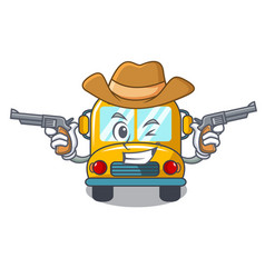 cowboy school bus character cartoon vector image