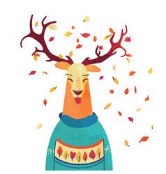 Cute autumn raindeer in sweater cartoon fall vector