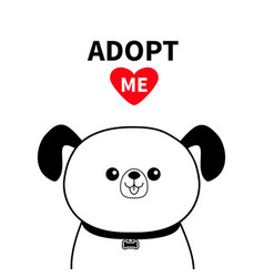 Cute dog face line silhouette adopt me red heart vector