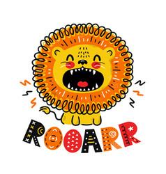 Cute funny lion roar quote scandinavian vector