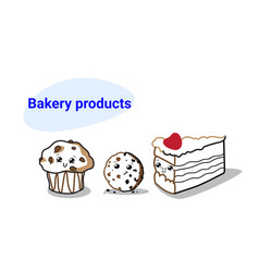 Cute muffin cookie and cake piece cartoon comic vector
