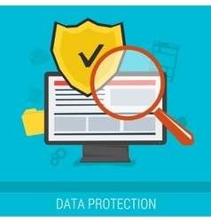 Data protection and safe work online vector