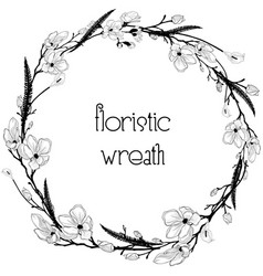 Delicate floristic wreath flower design frame vector
