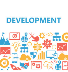 development poster with icons set vector image
