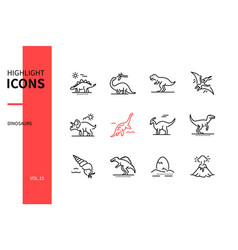 Different dinosaurs - line design style icons set vector