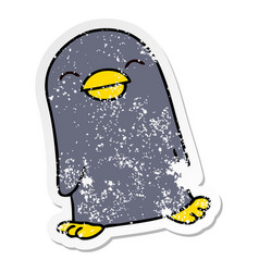 Distressed sticker of a quirky hand drawn cartoon vector