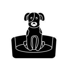 Dog or puppy on bed pet icon image vector