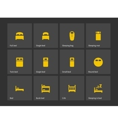 Double and single bed icons vector image