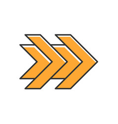 Double orange arrows color icon fast forward vector