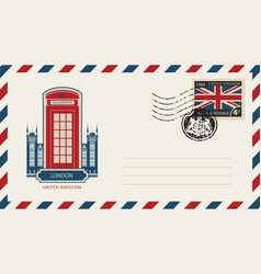 Envelope with london telephone booth and uk flag vector