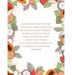 Exotic fruit invitation card vector image