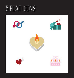 Flat icon love set of fire wax gift wings and vector