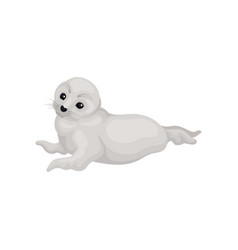 Flat icon of lovely white seal pup lying vector