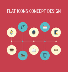 Flat icons whiteboard desk light puncher and vector