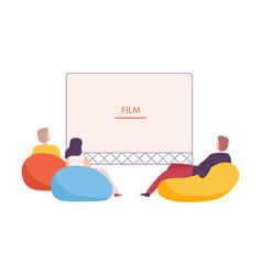 Friends watching movie outdoors open air cinema vector