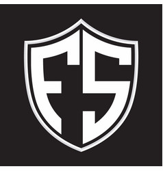 fs logo monogram with shield shape isolated vector image