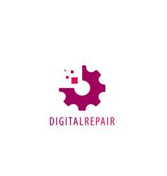 Gear pixel logo design vector