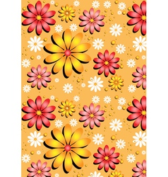 Gentle yellow seamless background with flowers vector image
