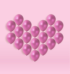 glossy heart balloons background vector image