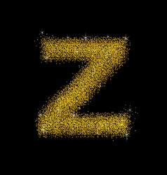 Gold dust font type letter z vector