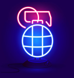 grenade is red and blue glowing neon icon vector image